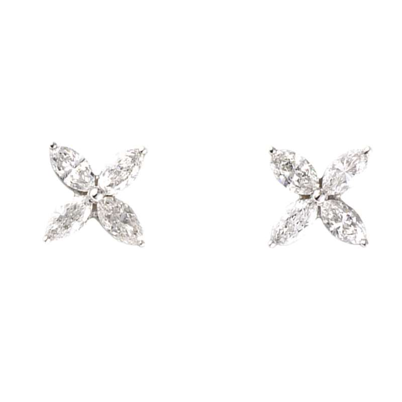 18k White Gold Marquise Cut Diamond Earstuds 1.20ct